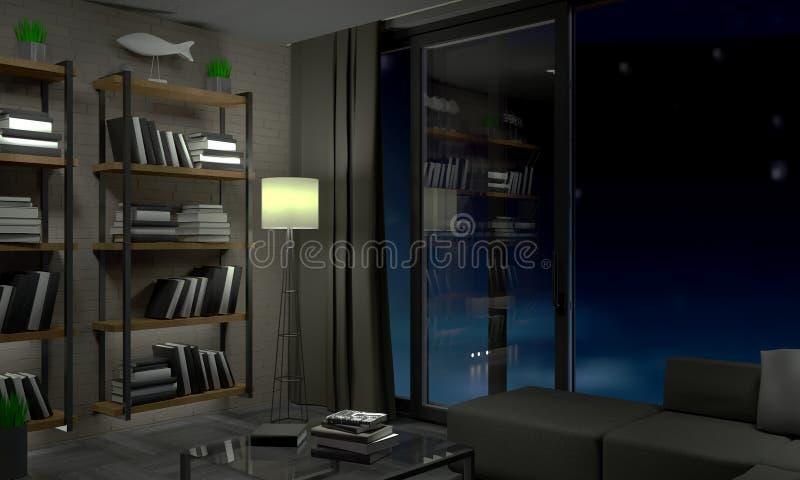Apartamentos modernos do sótão na noite fotos de stock royalty free