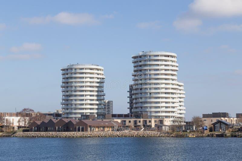 Apartamentos modernos em Copenhaga, Dinamarca foto de stock
