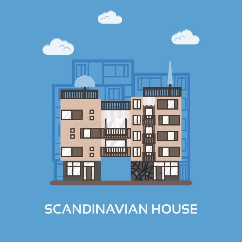 Apartamentos modernos para el alquiler y la vida en estilo escandinavo Casa famosa multi de la ciudad Casa urbana en escena de la ilustración del vector