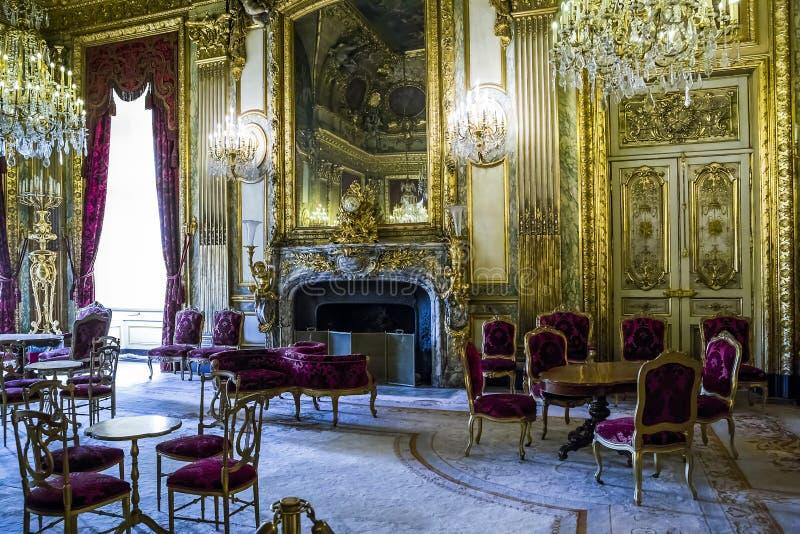 Apartamentos Napoleon III en el Louvre foto de archivo