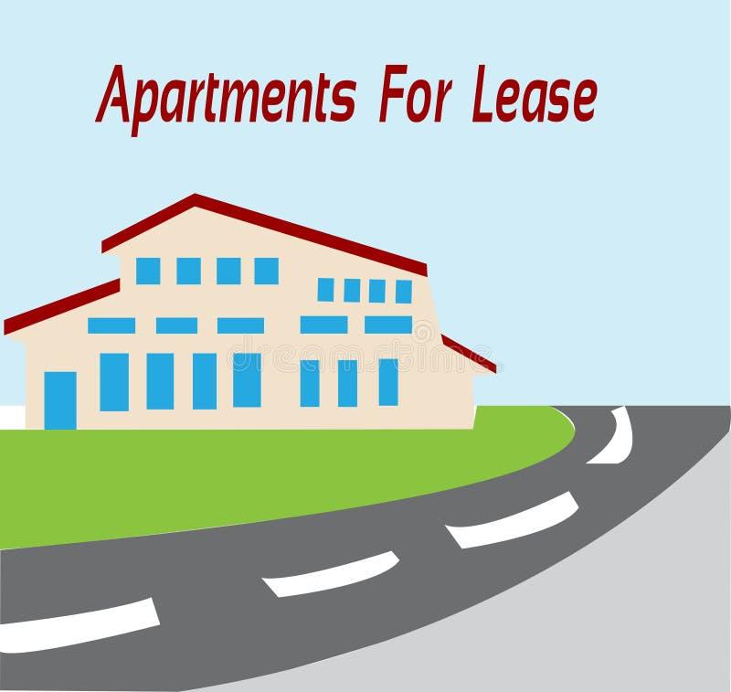 Apartamentos para el arriendo en una ciudad stock de ilustración