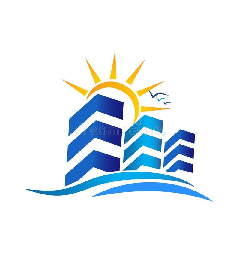 Apartamentos para el logotipo de las propiedades inmobiliarias stock de ilustración