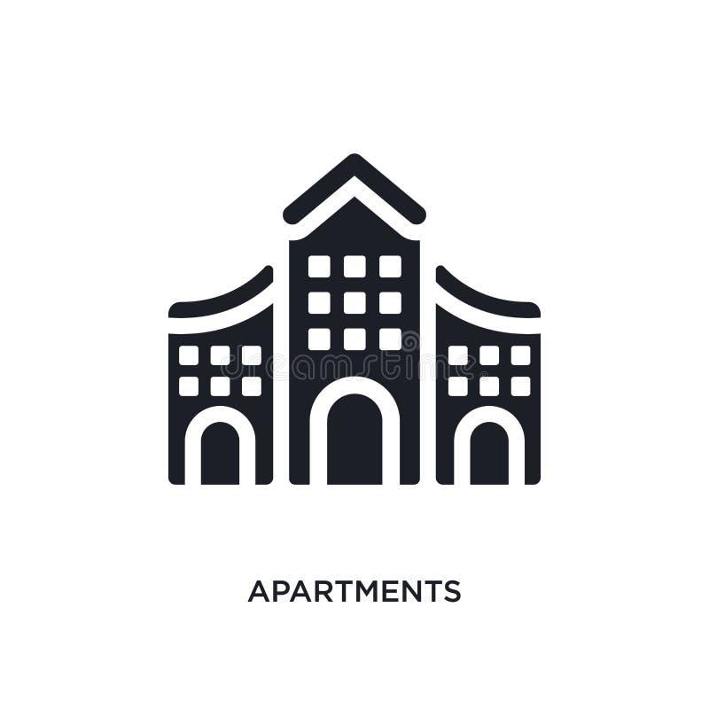 apartamentos pretos ícone isolado do vetor ilustração simples do elemento dos ícones do vetor da arquitetura e do conceito do cur ilustração royalty free