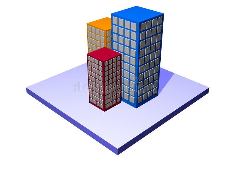 Apartamentos y planos - serie de la característica del edificio stock de ilustración
