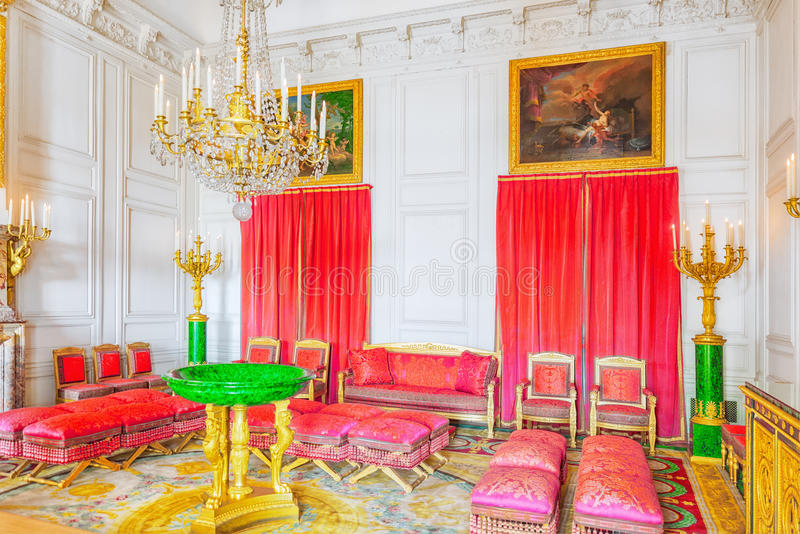 Apartaments de salon de malachite dans le Trianon grand Chateau de V photos libres de droits