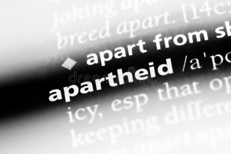 Apartheid. Word in a dictionary.  concept stock photos