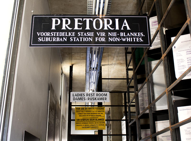 Apartheid Museum sign next to the entrance. South Africa, Johannesburg - 30 March, 2016: Apartheid Museum sign next to the entrance. Exhibition is dedicated to stock photos