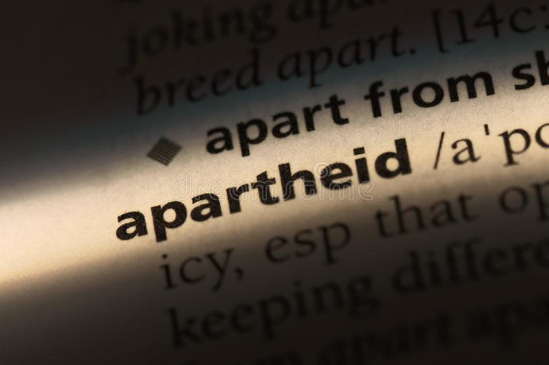 Apartheid. Word in a dictionary.  concept stock images