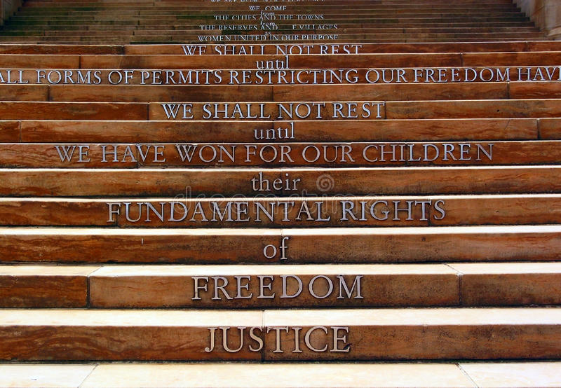 Apartheidsmuseum, Johannesburg, South Africa. We shall not rest until we have won for our children their fundamental rights of freedom justice Apartheidsmuseum stock images
