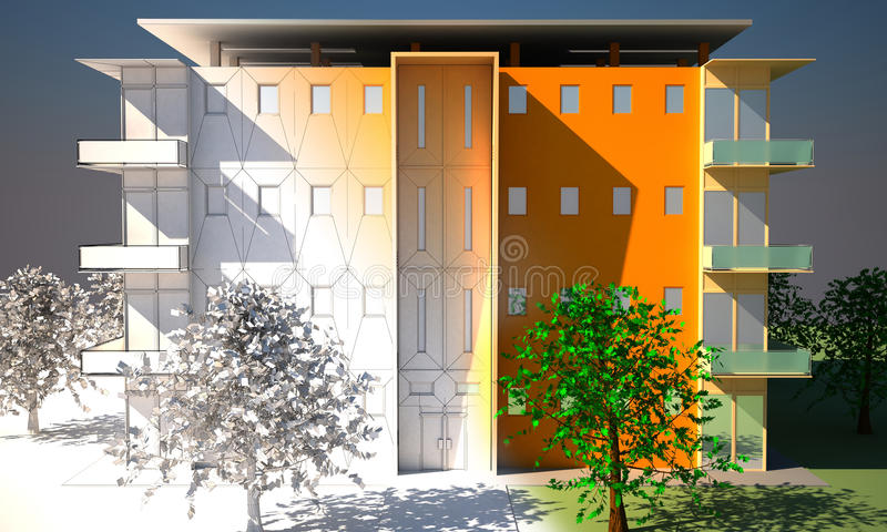 Download Apartment block stock illustration. Image of estate, green - 13035383
