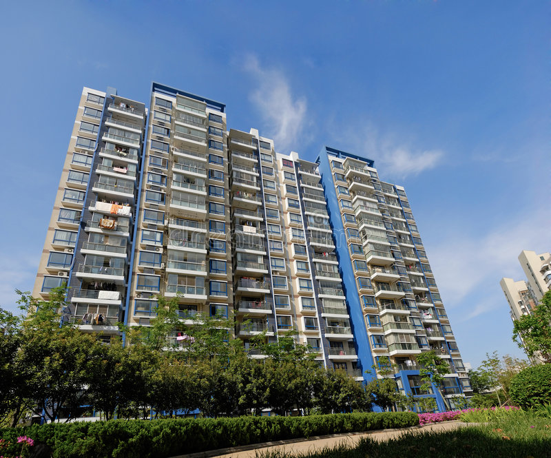 Apartment block. With blue sky stock photography