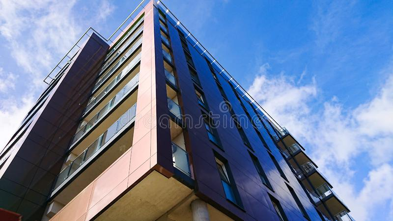 Apartment Block Building. A 3D view of a modern apartment block stock photography