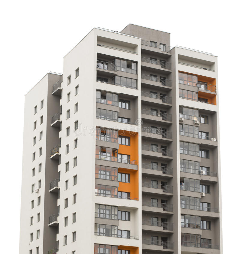 Apartment block building. Isolated on white background royalty free stock images