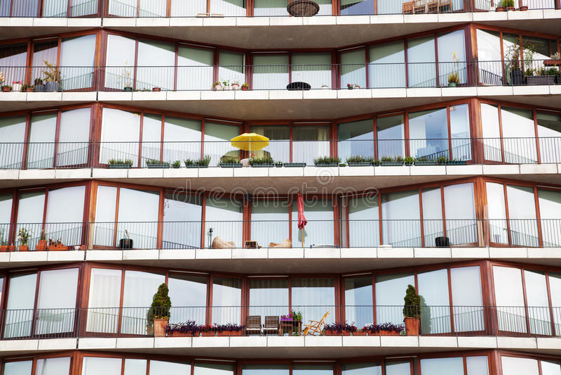 Apartment block. Facade of an apartment block with balconies stock image