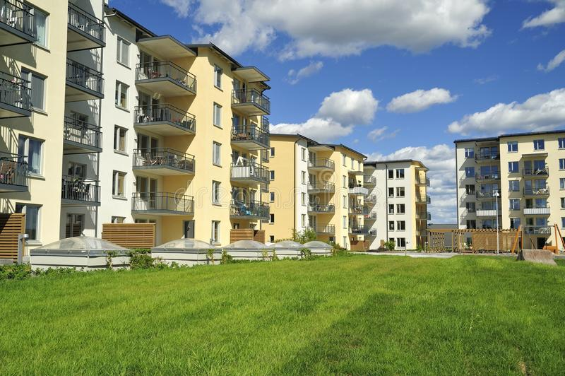 Apartment Block. Hägernäs in Sweden royalty free stock images