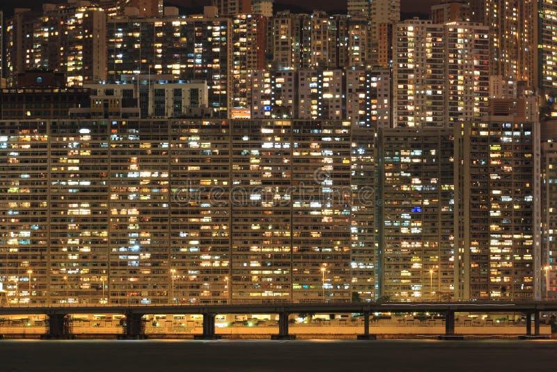 Apartment block at night. Hong Kong stock photography