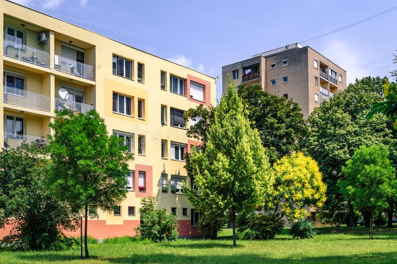 Apartment block in a residential district in Budapest, Hungary.  royalty free stock photo