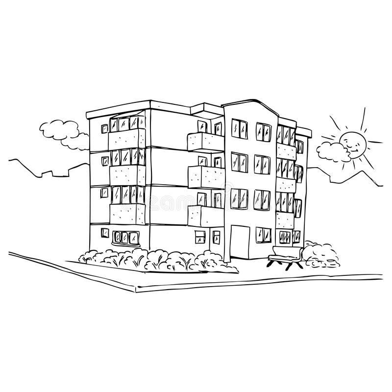 Download Apartment building stock illustration. Image of street - 22802050