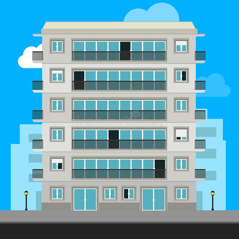 Apartment Building and City Illustration. Urban family home classic building vector illustration stock illustration