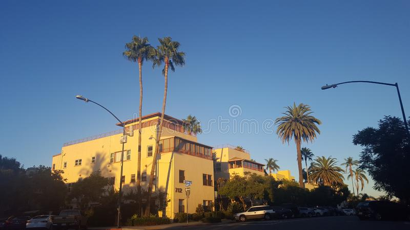 Apartment building in downtown San Diego. At dusk on a clear day stock photo