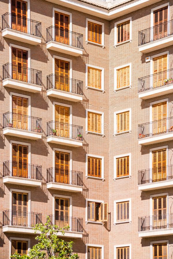 Apartment building facade. In Spain royalty free stock photo