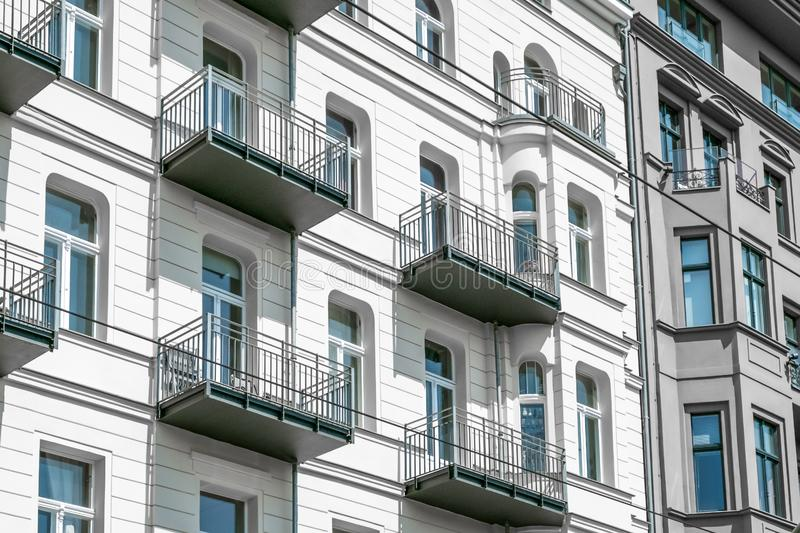 Apartment building facade in Berlin. Restored building facade , apartment building in Berlin - real estate royalty free stock images