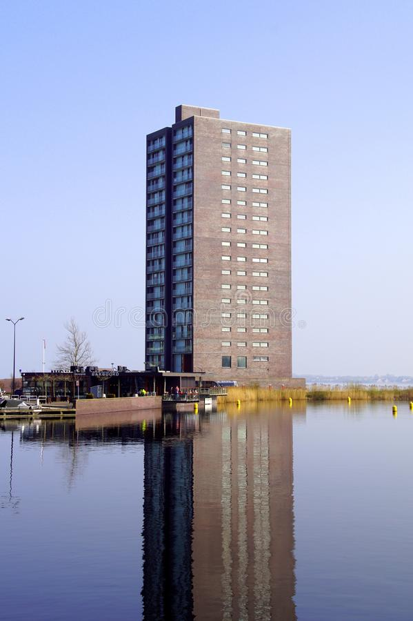 Apartment building in the harbor of Almere, the Netherlands. stock image