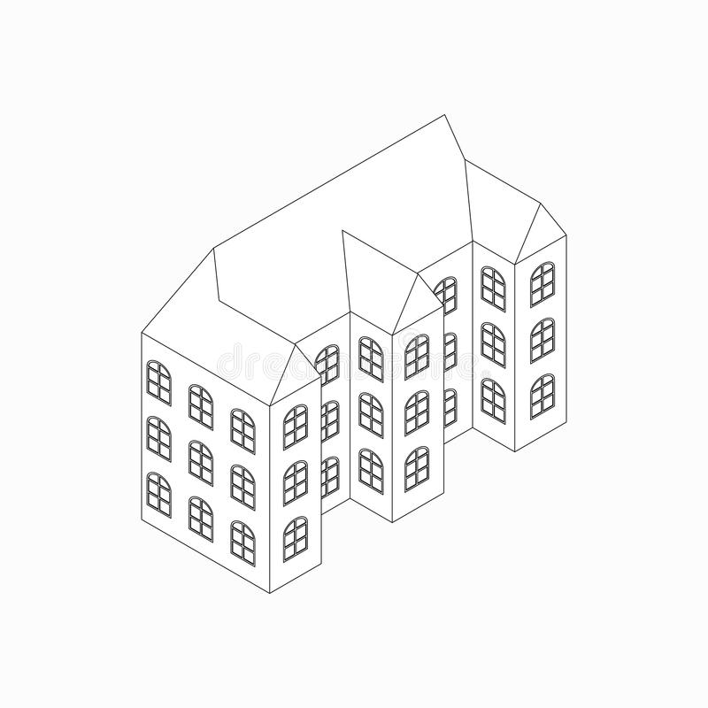 Apartment building icon, isometric 3d style vector illustration