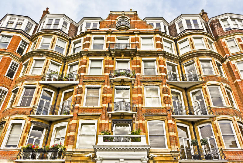 Apartment Building in London. Apartment house in London's wealthy neighborhood Kensington stock photo