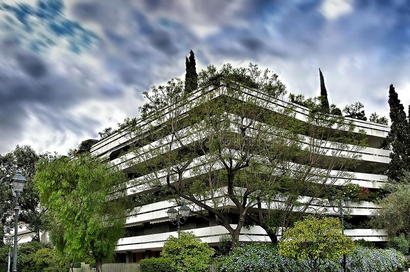Apartment building n centre of Athens city with green trees un stock images