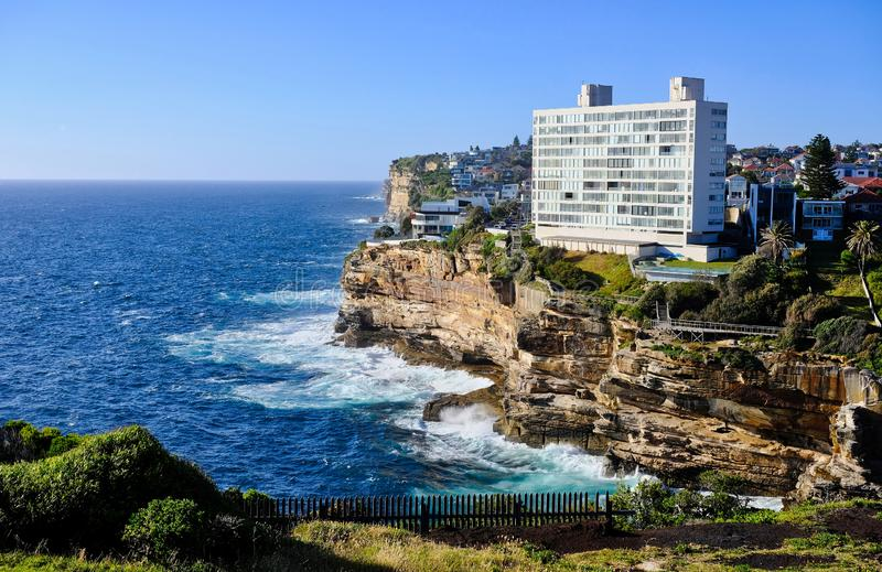 Apartment Building on Ocean Cliff, Sydney, Australia royalty free stock images