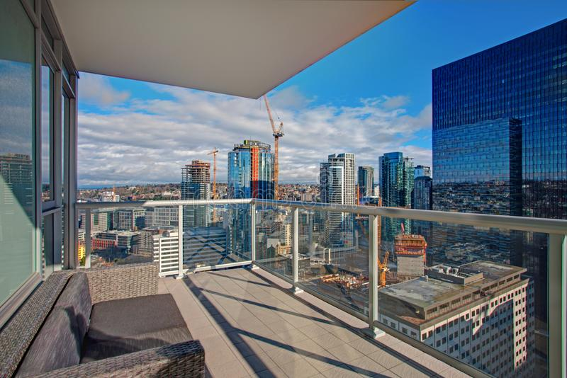 New apartment building with panoramic view of town Seattle. royalty free stock images