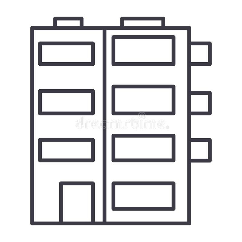 Apartment building vector line icon, sign, illustration on background, editable strokes. Apartment building vector line icon, sign, illustration on white stock illustration