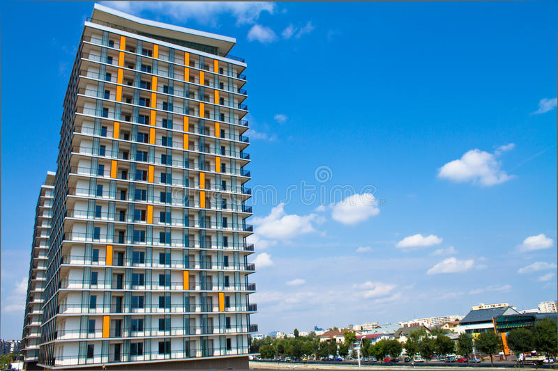 Apartment buildings stock images