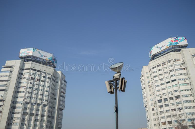 Apartment Buildings in Almaty, Kazakhstan.  royalty free stock image