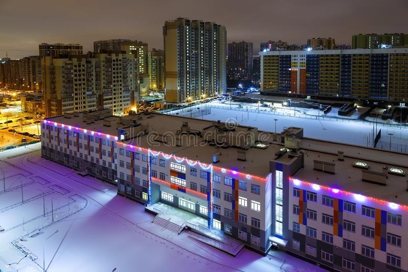 apartment buildings are blue red. view from the high buildings of the city of St. Petersburg . residential areas of the city royalty free stock photo