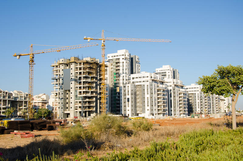 Apartment buildings construction site in Israel royalty free stock image
