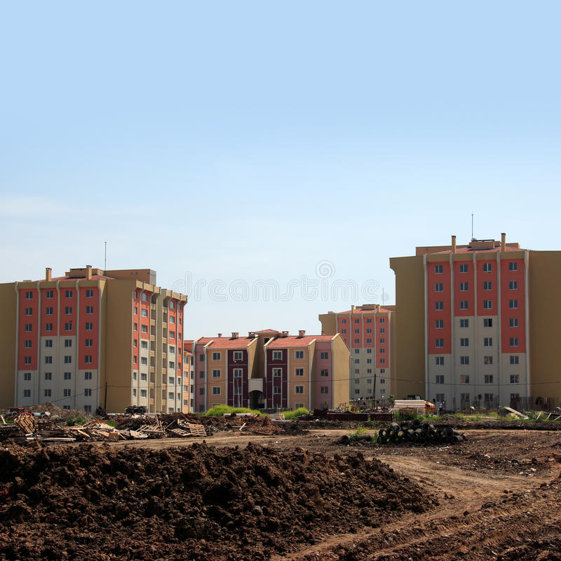 Download Apartment Buildings From Construction Zone Stock Photo - Image of district, backyard: 23804634