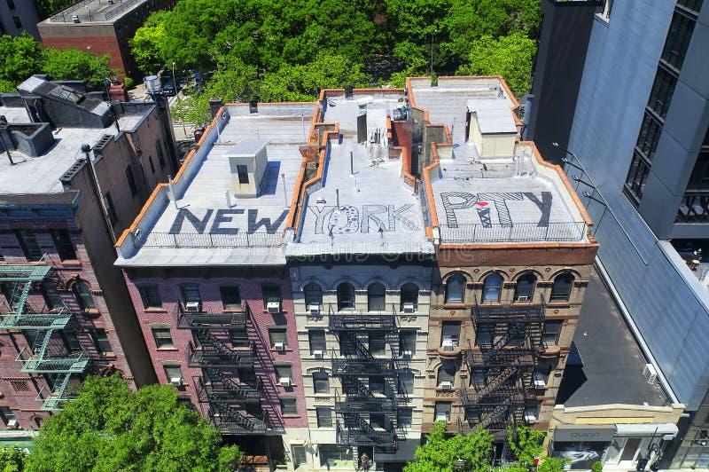 New york city apartment buildings and Graffiti royalty free stock photo