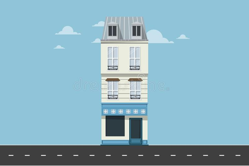 Apartment in the city - Minimal Building Vector. Minimal apartment building on the road side beautiful vector design illustration royalty free illustration