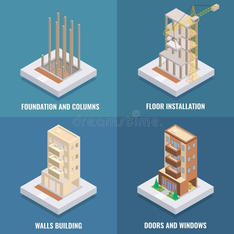 Apartment construction vector flat isometric poster, banner set. Foundation and columns, Floor installation, Walls building, Doors and windows design elements stock illustration