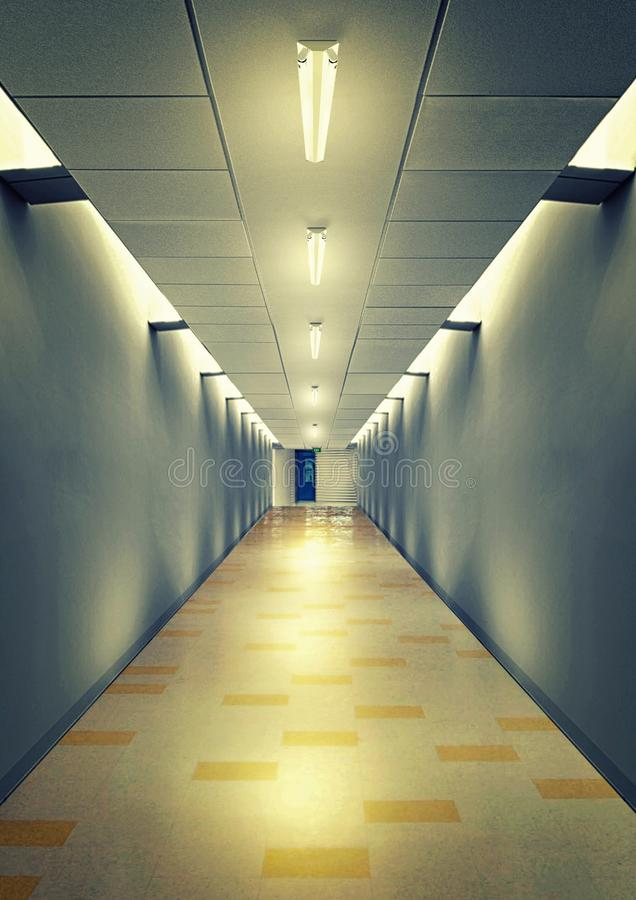 Apartment corridor night scene using led light. For background and other design need royalty free stock photos