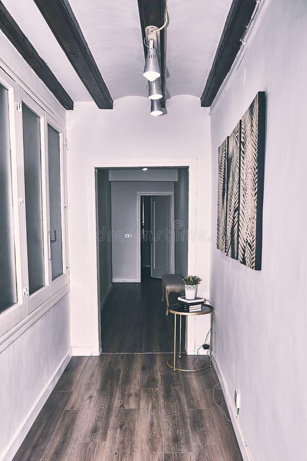 Apartment corridor with white walls. Apartment corridor with white walls royalty free stock photo