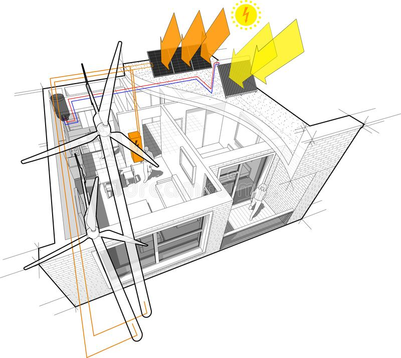 Apartment diagram connected to the wind turbines and photovoltaic and solar panels royalty free illustration