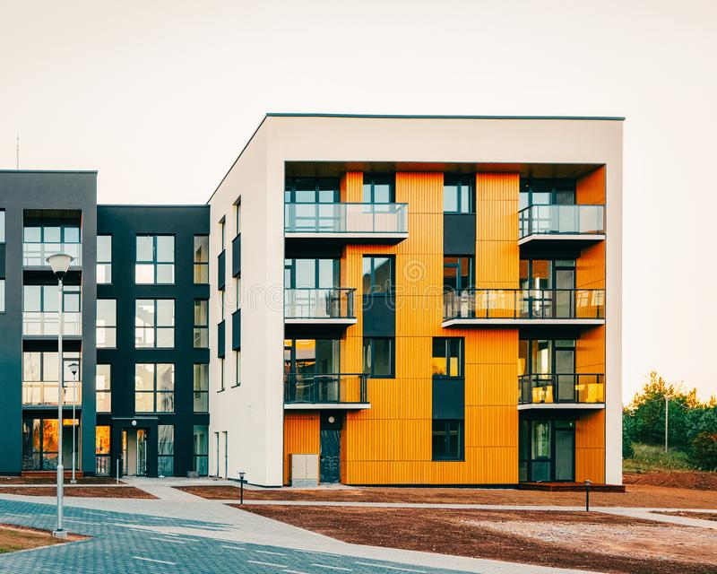 Apartment EU residential home facade architecture with outdoor facility. Blue sky on the background royalty free stock photos