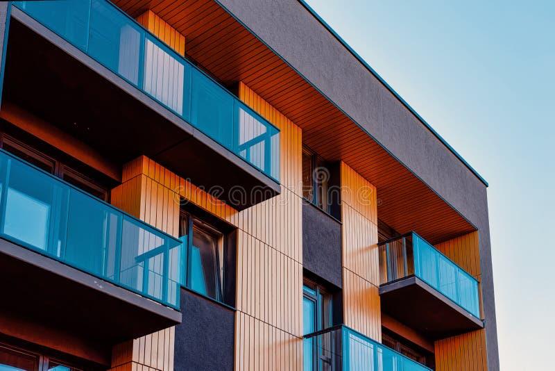 Apartment EU residential home facade and blank place copy space. Apartment EU residential home facade and a blank place for the copy space. Blue sky on the stock photos