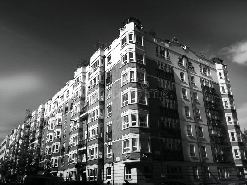 Apartment exterior in black and white stock photography