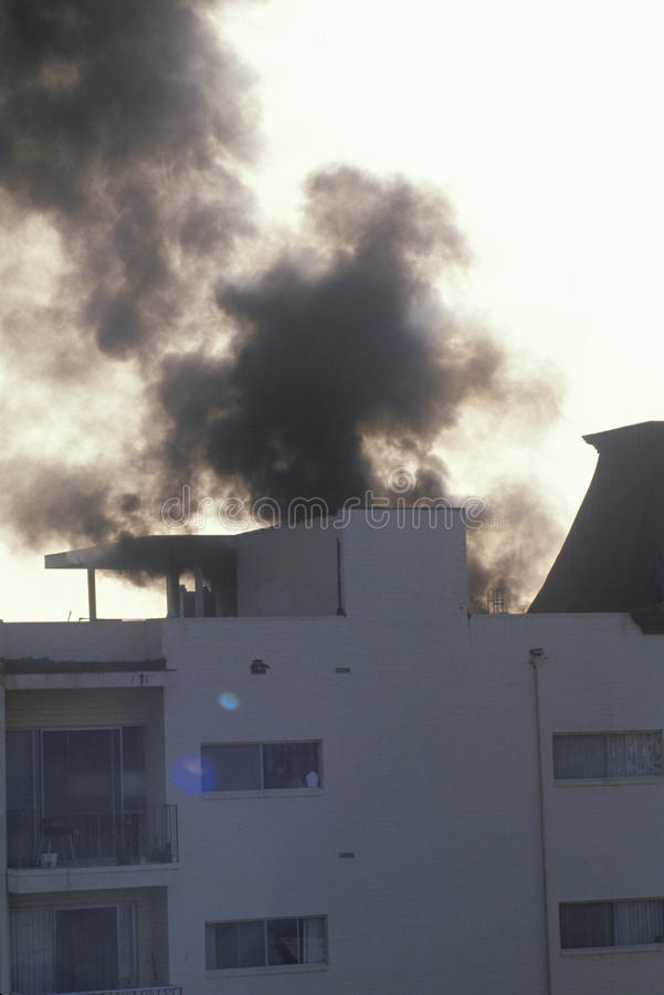Apartment on fire, Brentwood, California stock image