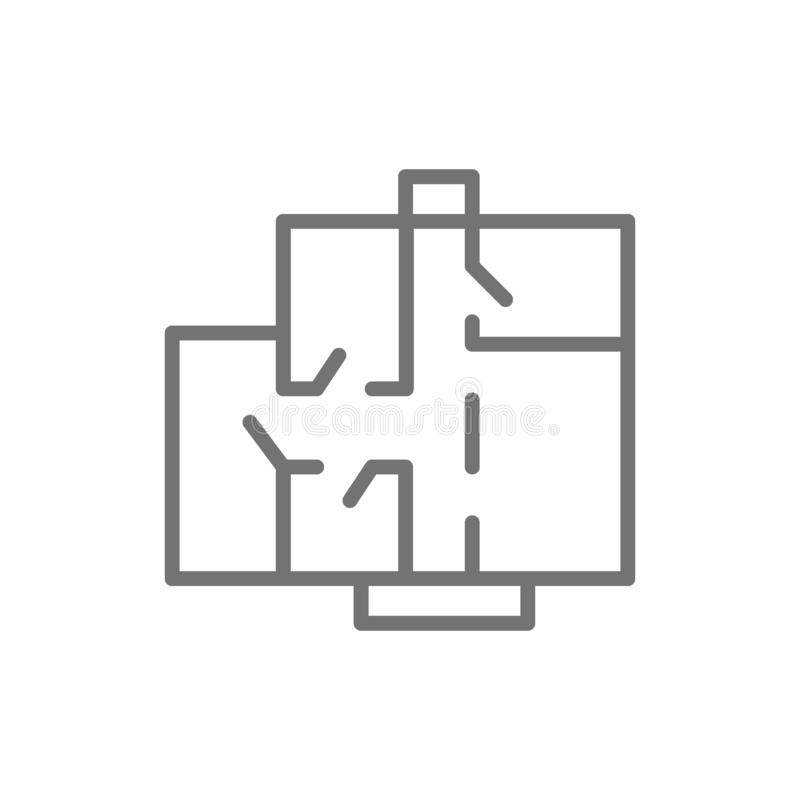 Apartment floor plan, architectural project line icon. stock illustration