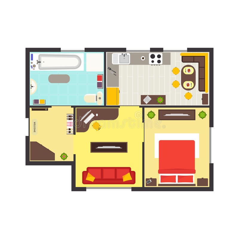 Apartment floor plan with furniture top view vector stock for Apartment floor plans vector